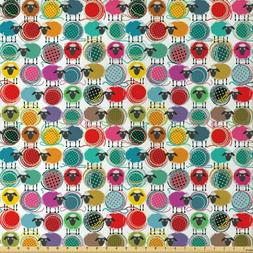 Lunarable Animal Fabric by The Yard, Colorful Sheep with Yar