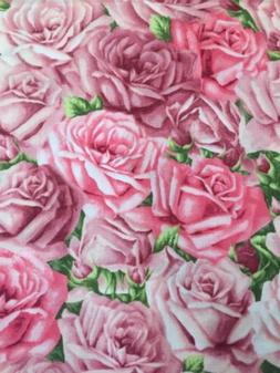 MAUVE PINK ROSES BY HOBBY LOBBY SPRING FLORAL COTTON FABRIC