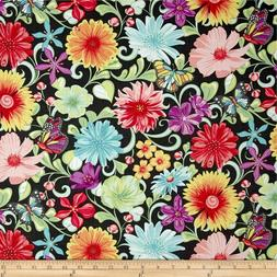Meadow Dance Cotton Fabric Wildflowers Large  Benartex  By t