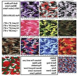 Military Style Camo 100% cotton fabric - Pick SIZE & from 12