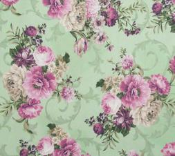 Mint Pink Purple Shabby Floral Cotton Quilting Fabric Meredi