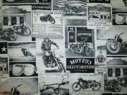 MOTORCYCLE CLASSIC BIKER VINTAGE ADS OVERALL COTTON FABRIC F