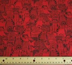 Mr B's Fat Cats BTY Benartex Black Red 100% Cotton Fabric