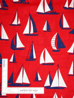 Nautical Sail Boat Sailing Red Cotton Fabric Timeless Treasu