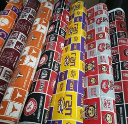 """NCAA College Cotton Fabric by the 1/4 Yard -PICK TEAM- 9""""L x"""