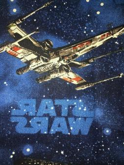 Star Wars NEW PRINT On Blue Fabric Scrap Quilt Sew