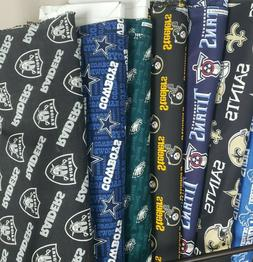 NFL Football Cotton Fabric By The 1/4 Quarter Yard - PICK TE