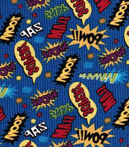 "Novelty Cotton Comic Words Fabric - 18"" x 44"" - Same Day Shi"