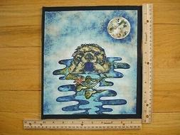 Otter Full Moon  Wildlife Expressions Cotton Quilt Fabric Bl