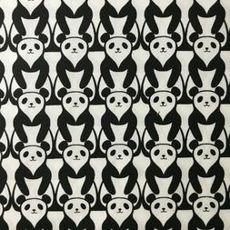 Panda Black and White Cotton Quilting Fabric by the Yard Tim