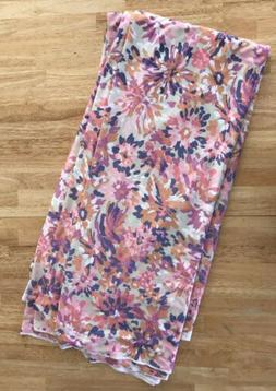 Pink Floral Satin Type Smooth Fabric Material Sewing Crafts