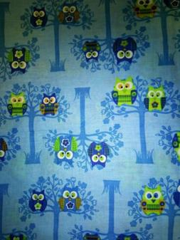 """Springs Creative Products """"Sitting Pretty Owls"""" Blue Cotton"""