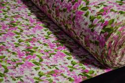 Quilt Fabric Pink Azalea Floral Print Craft Apparel By The Y