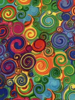 RAINBOW Swirls Fabric By the Half Yard 100% Cotton