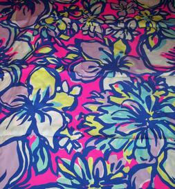 RARE LILLY PULITZER FABRIC*CAT WALKIN*TROPICAL*BLUES PINKS Y