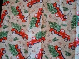 Red Pick Up Trucks & Trees HOLIDAY CHRISTMAS 100% Cotton Fab
