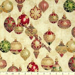 "RK ""HOLIDAY FLOURISH 9"" 15760-223 CHRISTMAS ORNAMENTS FABRIC"