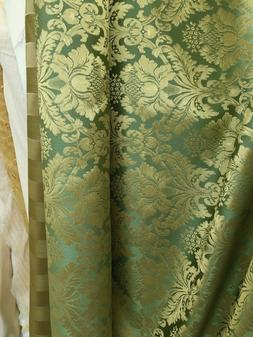 SAGE GREEN GOLD Damask Jacquard Brocade Flower Floral Fabric