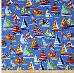 Sail Boats On Blue 100% Cotton Quilt Or Mask Fabric  Fat Qua