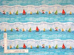 Sailboat Sail Boat Wave Stripe Row Cotton Fabric C3674 Timel