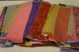 "SCRAP LOT ~ 46  2"" x 10"" STRIPS SCRAPS 100% Cotton Quilt"
