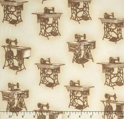 Robert Kaufman Sewing with Singer Sepia Tables 100% cotton f