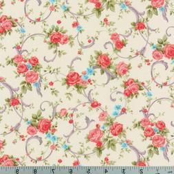 Shabby Rose Cream Cassandra Robert Kaufman Cotton Quilting F