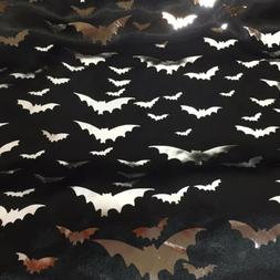 "Silver Foil Bats on Black Satin Fabric 58"" wide By the Yard"