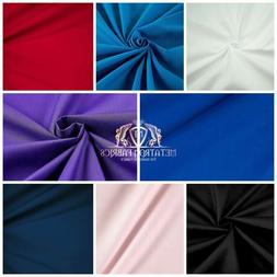 """Solid Poly Cotton Fabric Broadcloth 58""""/ 60""""Wide By The Yard"""