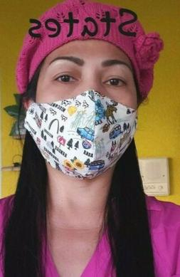 STATES HANDMADE FACE MASK NEW COTTON FABRIC MADE IN USA WASH