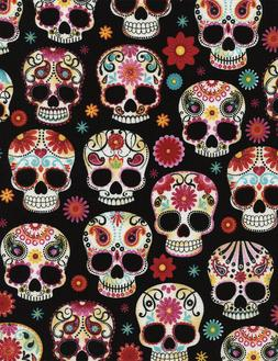 Sugar Skulls Timeless Treasures Fabric - day of the dead Fun