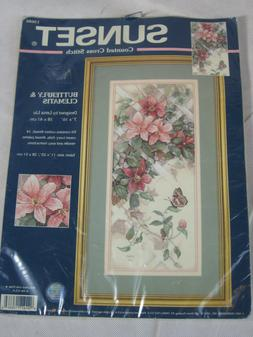 Sunset Counted Cross Stitch Butterfly & Clematis  Kit #13686