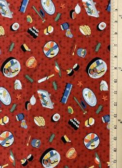 Sushi 100% Cotton Fabric Japanese Asian Oriental New by the