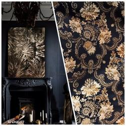 SWATCH Brocade Jacquard Fabric- Black Gold Floral- Neoclassi
