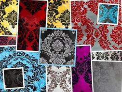 "Taffeta Damask Velvet Flocking Fabric 58"" Wide Sold By The Y"