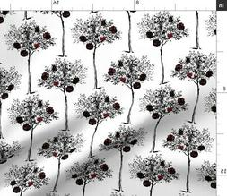 Tenniel Rose Paint Tree Red Literary Fabric Printed by Spoon