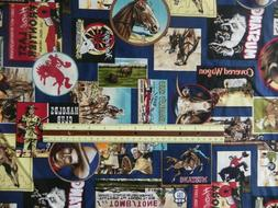 THE OLD WEST ROBERT KAUFMAN FABRIC VINTAGE WESTERN COWBOY TO