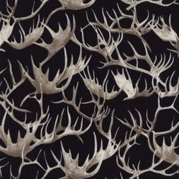 Timeless Treasures Cabin Rules C4809 BLK Black Antlers COTTO