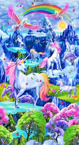 Timeless Treasures Majestic Unicorn Rainbow Scenic Cotton fa