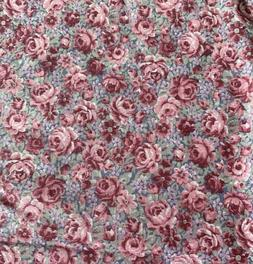 Vintage Cotton Fabric - Old Fashioned Rose / Floral Pattern