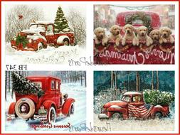 ~ Vintage Home for the Holidays Red Trucks Puppies 4 Prints