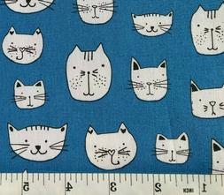 Whiskers and Tails - Blue Cats - Robert Kaufman - Quilt Fabr