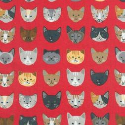 Whiskers & Tails Cats Stripes Red Robert Kaufman 100% cotton
