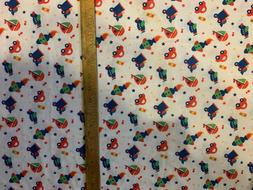 """White Transportation Knit Fabric 1 yd x 58"""" Cars Trains Airp"""