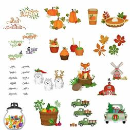 Winter Fall Fox Xmas Car Leaves Splicing Metal Cutting Dies